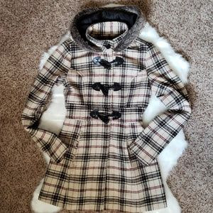 🛑2 FOR $33 | XS FITTED PLAID COAT WITH HOOD